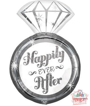 27-inch - Happily Ever After Ring - Helium-Filled Foil Balloon