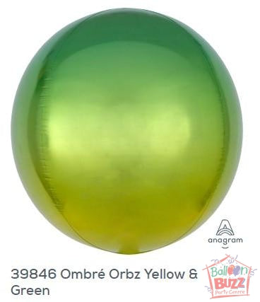 16-inch - Orbz Shape - Ombre Yellow and Green Helium-Filled Balloon