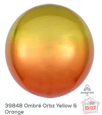16-inch - Orbz Shape - Ombre Yellow and Orange Helium-Filled Balloon