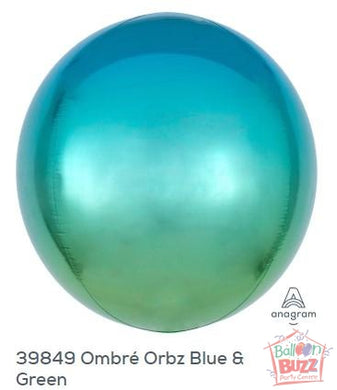 16-inch - Orbz Shape - Ombre Blue and Green Helium-Filled Balloon