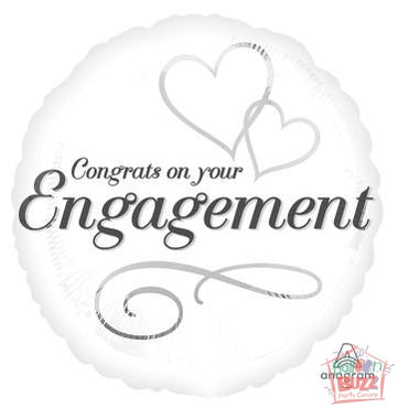 18-inch - Congrats Engagement - Helium-Filled Foil Balloon