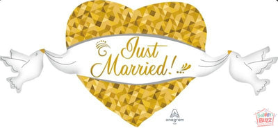 41-inch - Just Married Heart and Doves - Helium-Filled Foil Balloon