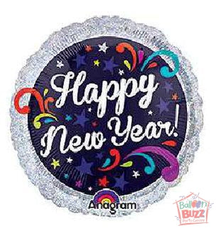 HNY 17-inch Swirls Holographic Foil Balloon