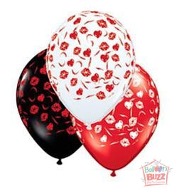 11-inch - Helium-Filled Love Lips Swirls Assorted