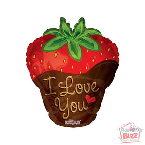 I Love You Strawberry - 18 inch - Helium-Filled Foil Balloon