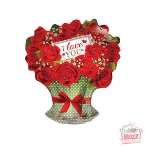 Red Roses Branch - 18 inch - Helium-Filled Foil Balloon