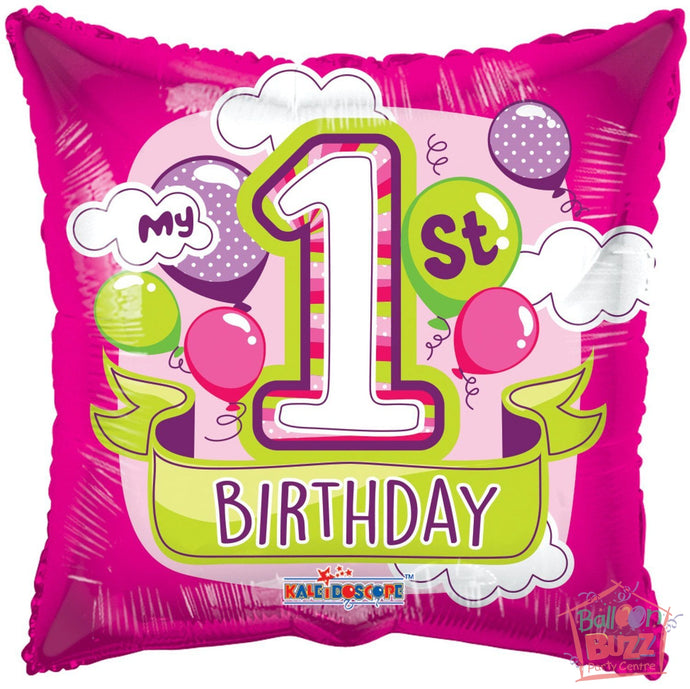 Happy 1st Birthday Girl Balloons - 18 inch - Helium-Filled Foil Balloon