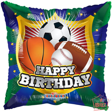 Happy Birthday Shield Sports - 18 inch - Helium-Filled Foil Balloon