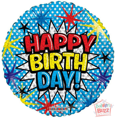 Happy Birthday Comic Font Holographic - 18 inch - Helium-Filled Foil Balloon