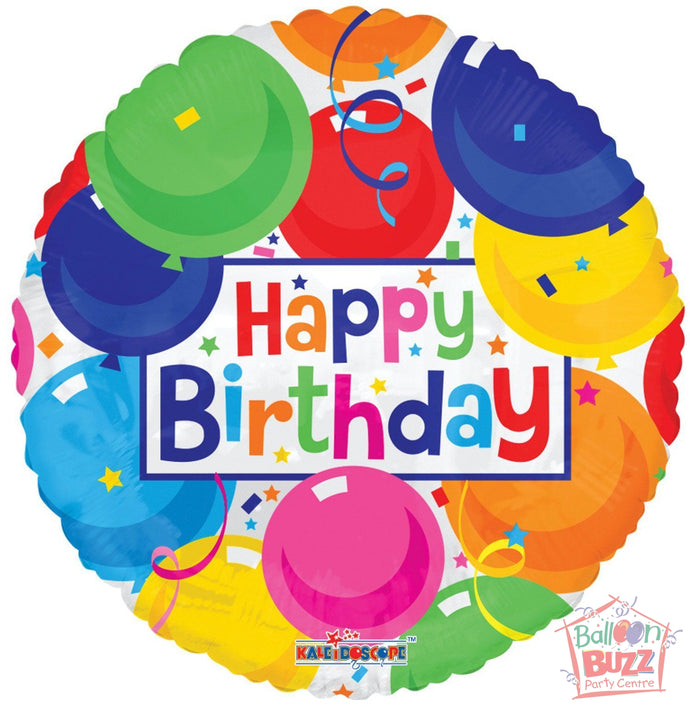 Happy Birthday Colorful Balloons - 18 inch - Helium-Filled Foil Balloon