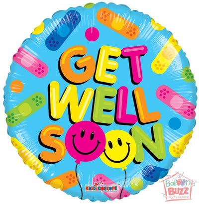 Balloon Smiles Get Well Soon - 18 inch - Helium-Filled Foil Balloon