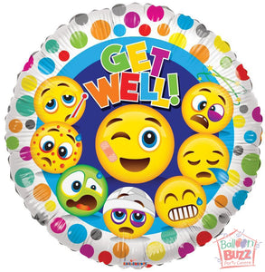 Smiles Get Well Soon - 18 inch - Helium-Filled Foil Balloon