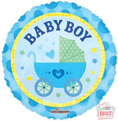 Boy Stroller - 18 inch - Helium-Filled Foil Balloon