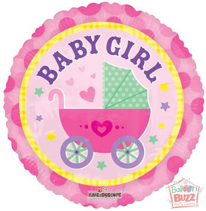 Girl Stroller - 18 inch - Helium-Filled Foil Balloon