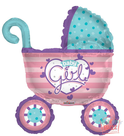 Girl Stroller Shape - 36 inch - Helium-Filled Foil Balloon