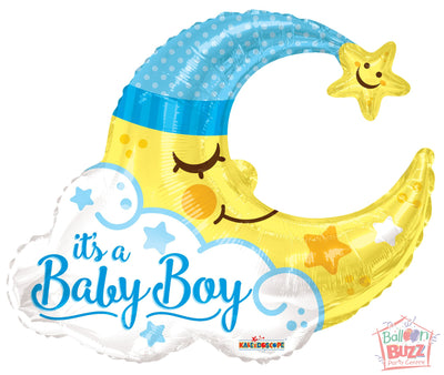 Boy Moon Shape - 36 inch - Helium-Filled Foil Balloon
