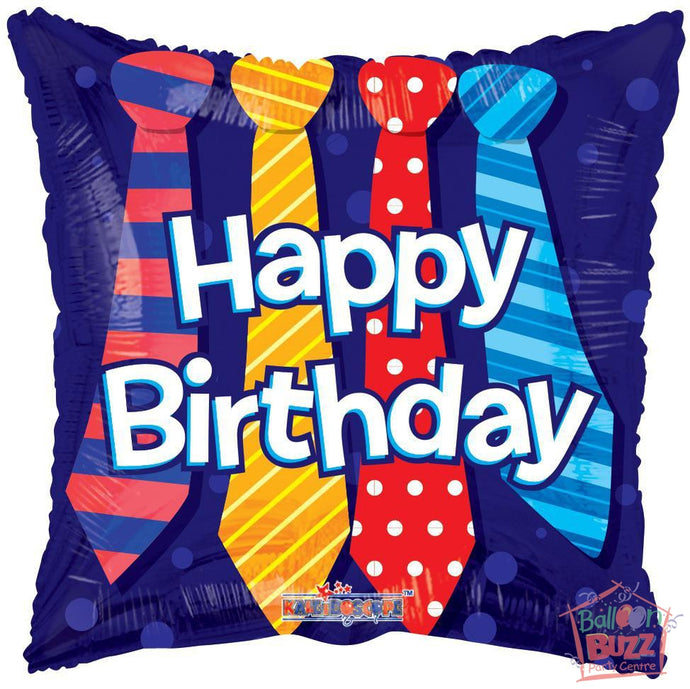 Happy Birthday Ties - 18 inch - Helium-Filled Foil Balloon