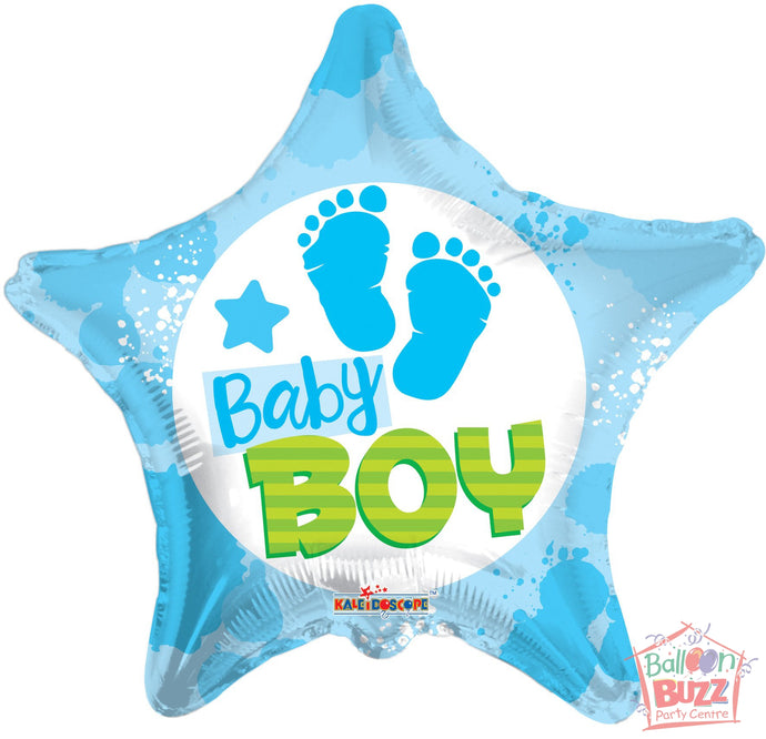 Boy Footprints - 18 inch - Helium-Filled Foil Balloon