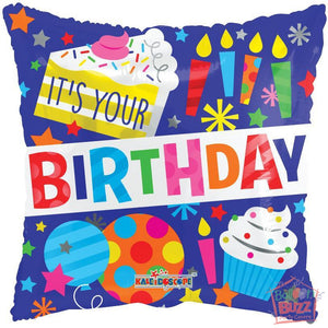 It's Your Birthday Candles and Cakes - 18 inch - Helium-Filled Foil Balloon