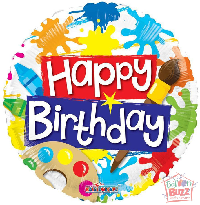 Happy Birthday Paint Sports - 18 inch - Helium-Filled Foil Balloon