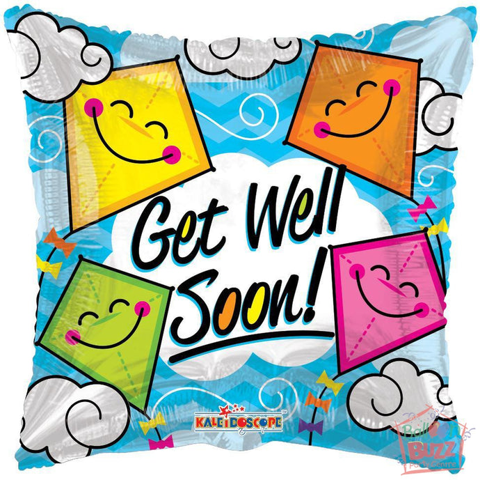Kites Get Well Soon - 18 inch - Helium-Filled Foil Balloon