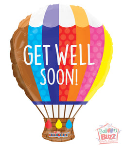 Hot Air Balloon Get Well Soon - 18 inch - Helium-Filled Foil Balloon