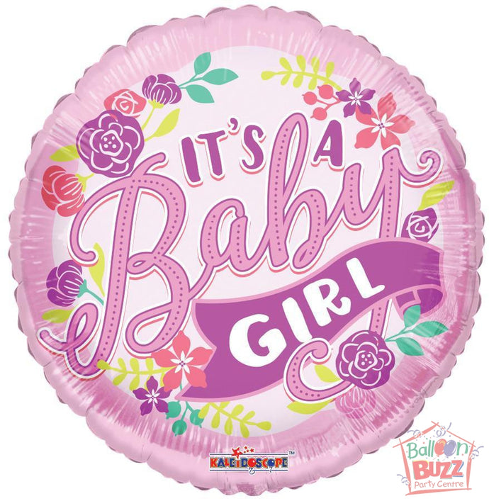 It's A Girl Banner - 18 inch - Helium-Filled Foil Balloon