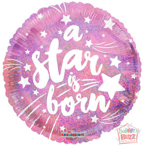 A Star Is Born Pink Holographic - 18 inch - Helium-Filled Foil Balloon
