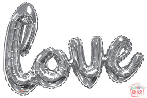 Silver Love Script - 36 inch - Helium-Filled Foil Balloon