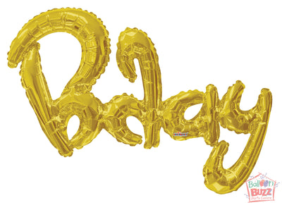 Gold Birthday Script - 36 inch - Air-Filled Foil Balloon