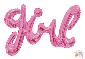 Baby Pink Girl Script - 36 inch - Helium-Filled Foil Balloon
