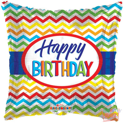 Happy Birthday Chevron - 18 inch - Helium-Filled Foil Balloon