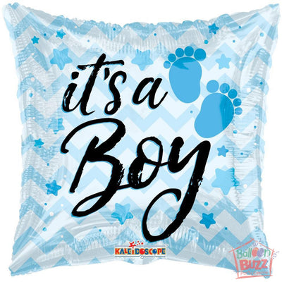 It's A Boy Chevron - 18 inch - Helium-Filled Foil Balloon