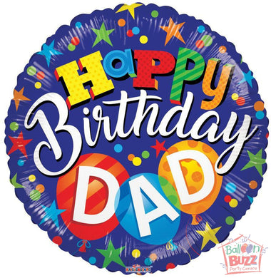 Birthday Dad - 18 inch - Helium-Filled Foil Balloon