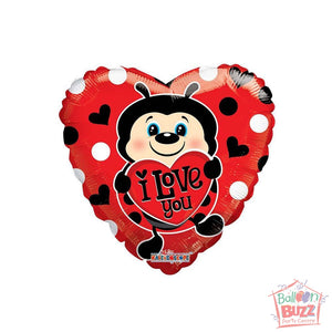 Lady Bug With Heart - 18 inch - Helium-Filled Foil Balloon