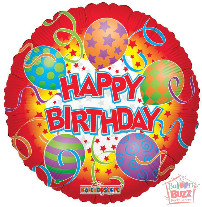 Happy Birthday Printed Balloons - 18 inch - Helium-Filled Foil Balloon