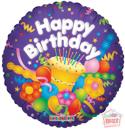 Happy Birthday With Cake - 18 inch - Helium-Filled Foil Balloon