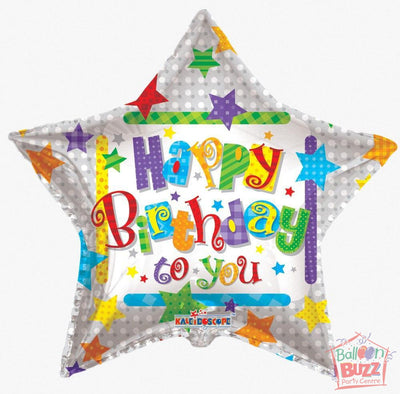 Happy Birthday Stars - 36 inch - Helium-Filled Foil Balloon