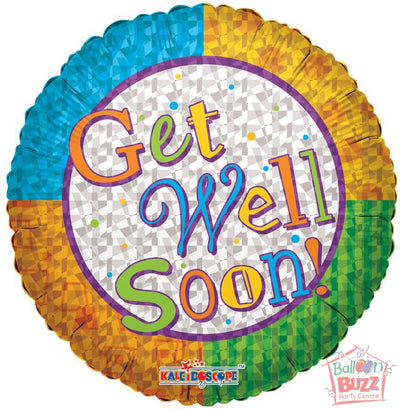 Color Wheel Get Well Soon - 18 inch - Helium-Filled Foil Balloon