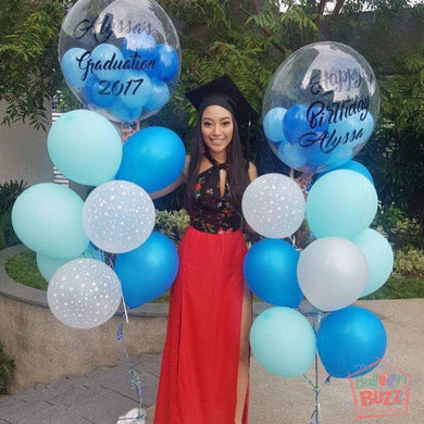 Graduation 24-inch Balloon With Personalized Message and Mini Balloons + 20 Helium-Filled Latex Balloons