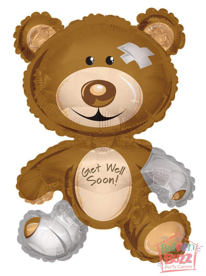 Get Well Soon Bear - 36 inch - Helium-Filled Foil Balloon