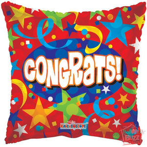 Stars and Streamers Congrats - 18 inch - Helium-Filled Foil Balloon