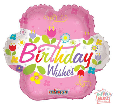 Happy Birthday Wishes Flower - 18 inch - Helium-Filled Foil Balloon