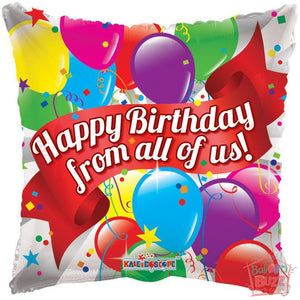 Happy Birthday From All Of Us Balloons - 18 inch - Helium-Filled Foil Balloon