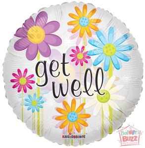 Daisies Get Well Soon - 18 inch - Helium-Filled Foil Balloon