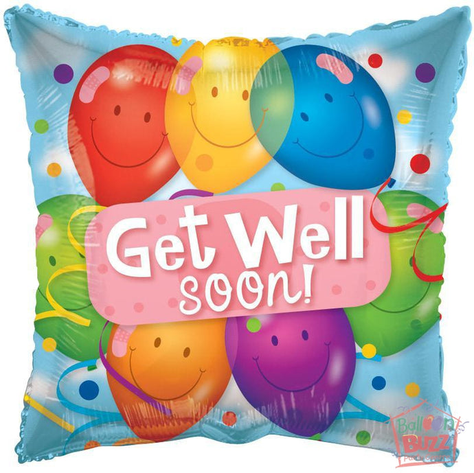 Get Well Soon Latex Balloons - 18 inch - Helium-Filled Foil Balloon