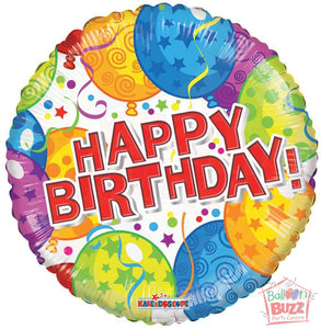 Balloons Happy Birthday - 18 inch - Helium-Filled Foil Balloon