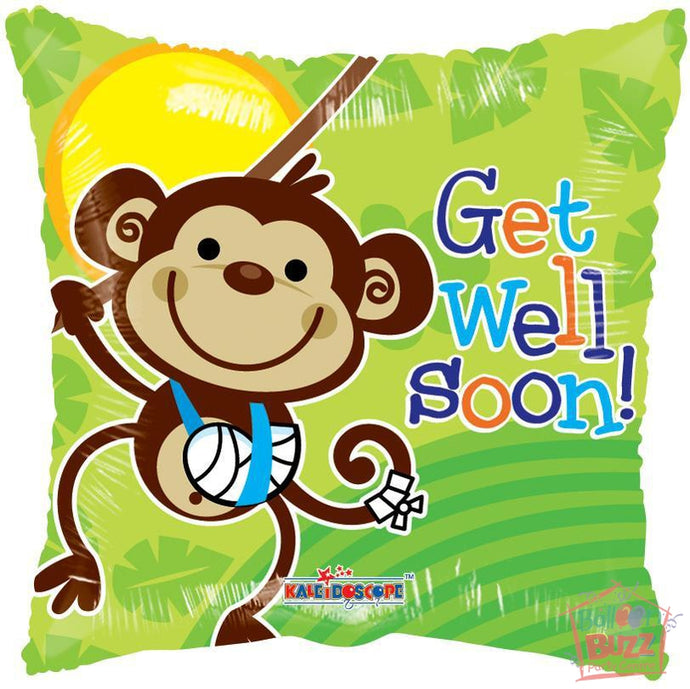 Monkey Get Well Soon - 18 inch - Helium-Filled Foil Balloon