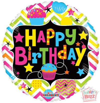 Happy Birthday With Cupcake Neon - 18 inch - Helium-Filled Foil Balloon