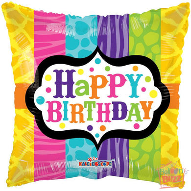 Happy Birthday Animal Print - 18 inch - Helium-Filled Foil Balloon